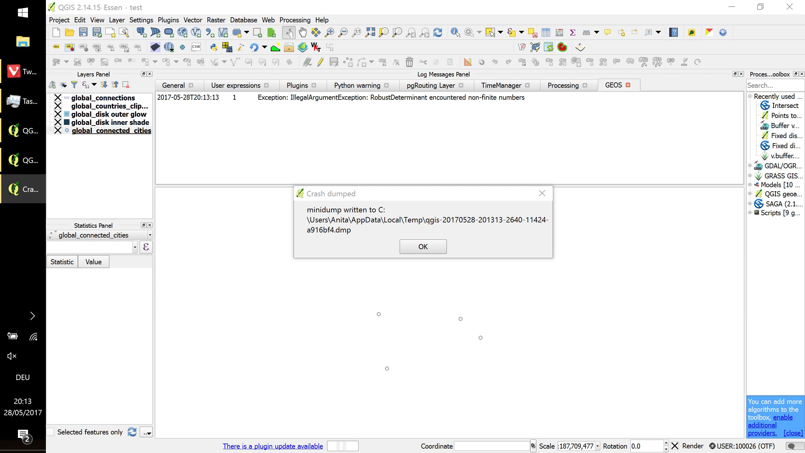 Bug report #14752: GEOS exceptions crash QGIS on windows