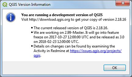QGIS 3.0.0-4 Check Version window