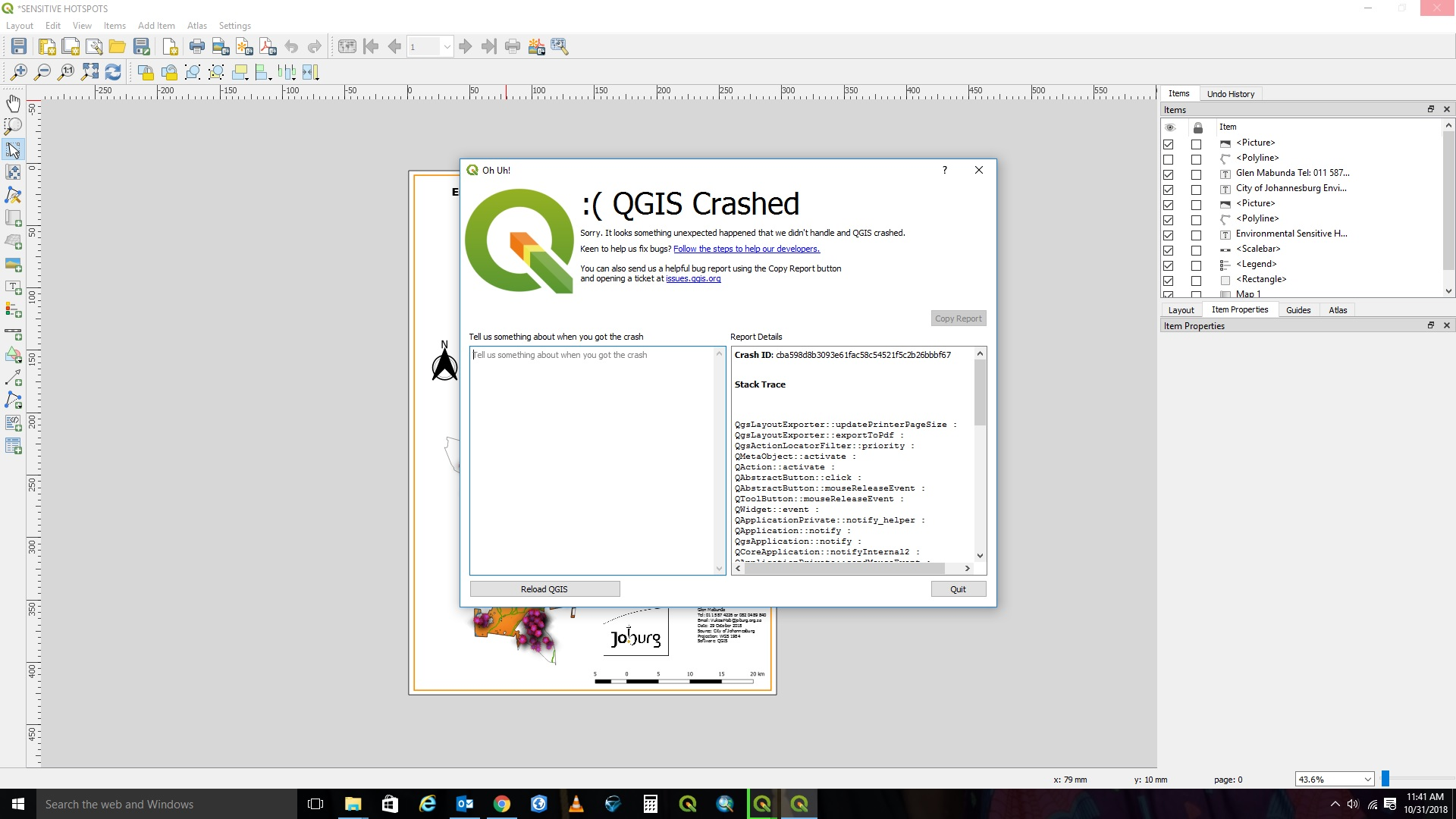 Bug report #20294: QGIS crashes when exporting a layout to pdf (and