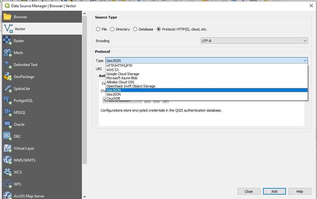 Bug report #20898: Geojson Protocol in QGIS 3 4 3 - QGIS