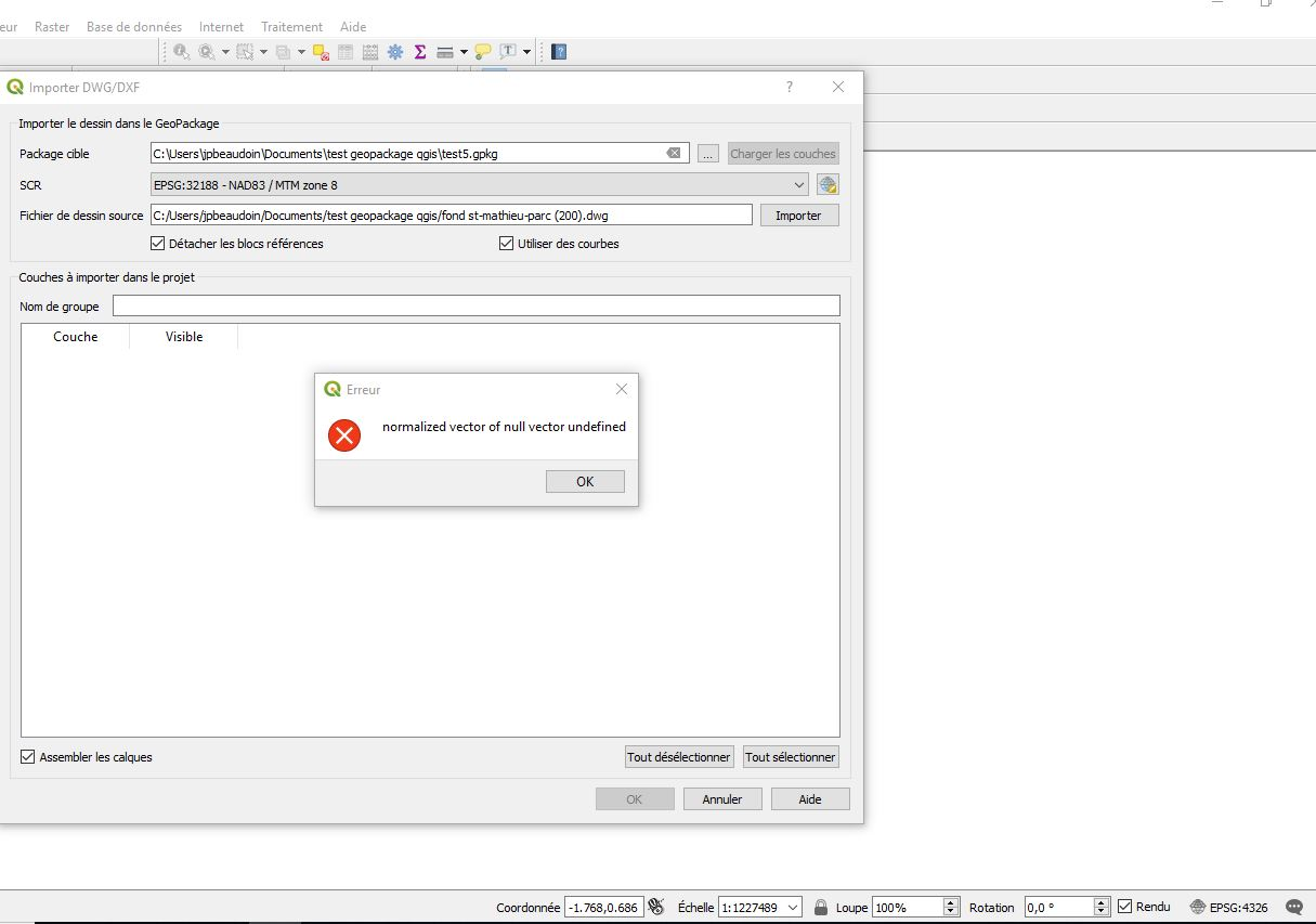 Bug report #21177: issue importing dwg to geopackage - QGIS