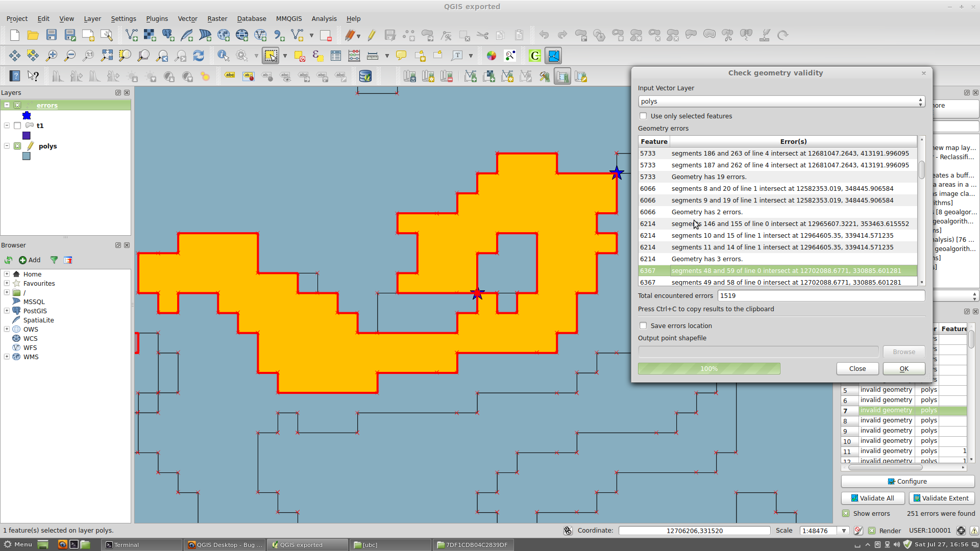 Bug report #5162: points in polygon never ends - QGIS