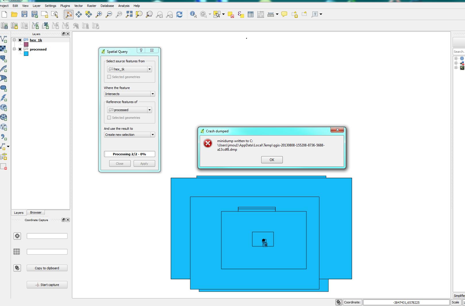 Bug report #8433: Repeated Crash - Spatial Query tool - QGIS