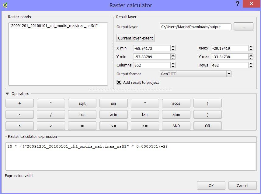 Bug report #11278: Power in raster calculator returns no