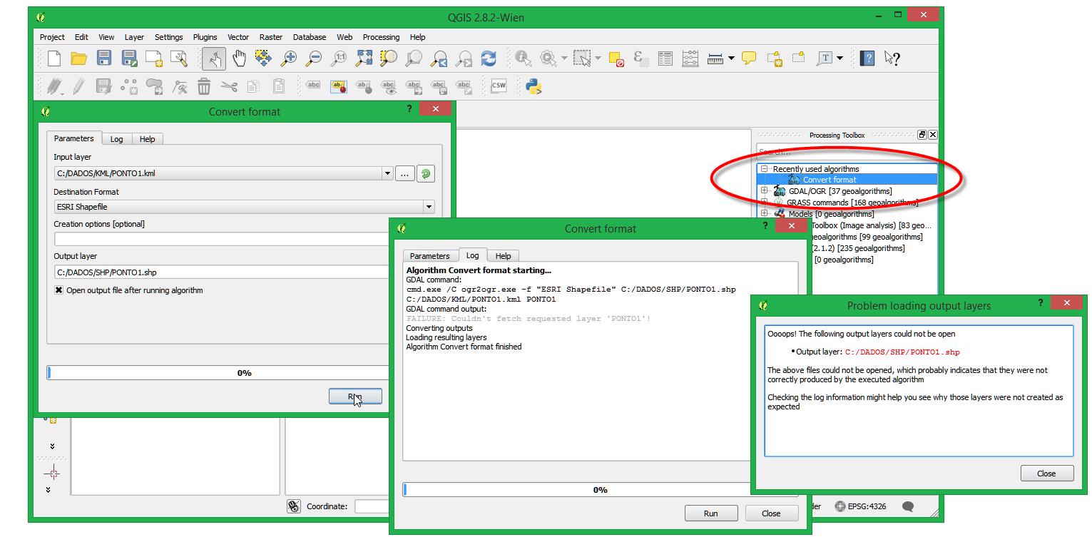 Bug report #13014: Processing: OGR Convert Format fails to convert