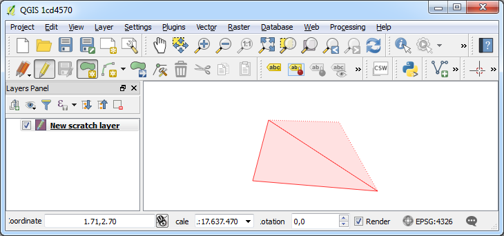 Screenshot of digitizing a polygon
